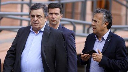 Mario Negri, junto a Alfredo Cornejo, en una reciente visita a la Casa Rosada (Damián Dopacio / NA).