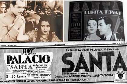 """El estreno de """"Santa"""" fue el 30 de marzo de 1931 en el extinto Cinema Palacio de la Ciudad de México (Foto: Twitter@MuseoCulturas)"""