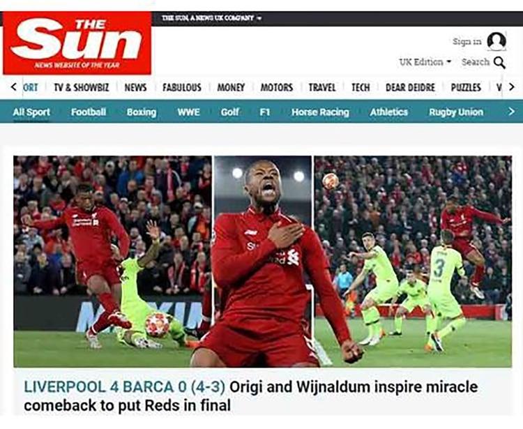 """The Sun, Inglaterra: """"Origi y Wijnaldum se inspiran en el milagro para poner a los 'Rojos' en la final"""""""