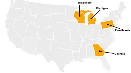 Wisconsin, Michigan, Pensilvania y Georgia, los cuatro estados que podrían definir quién será el próximo presidente estadounidense (Infobae)