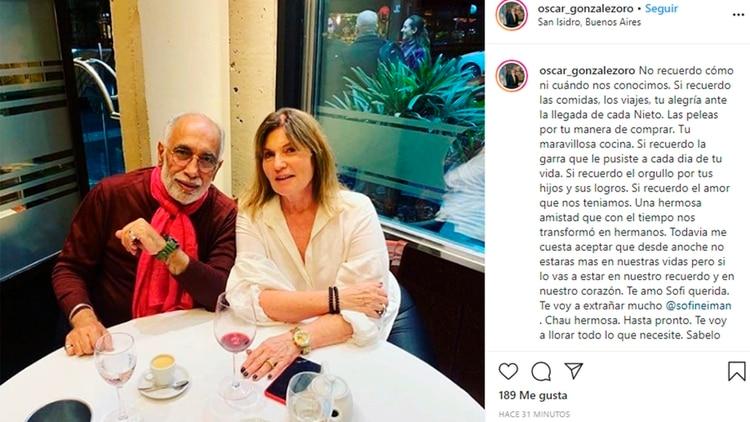 El recuerdo en Instagram de Oscar González Oro