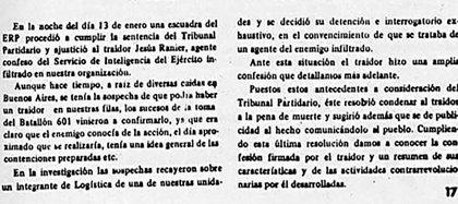 """Parte del ERP sobre el asesinato del """"Oso"""" Ranier publicado en """"Estrella Roja"""""""
