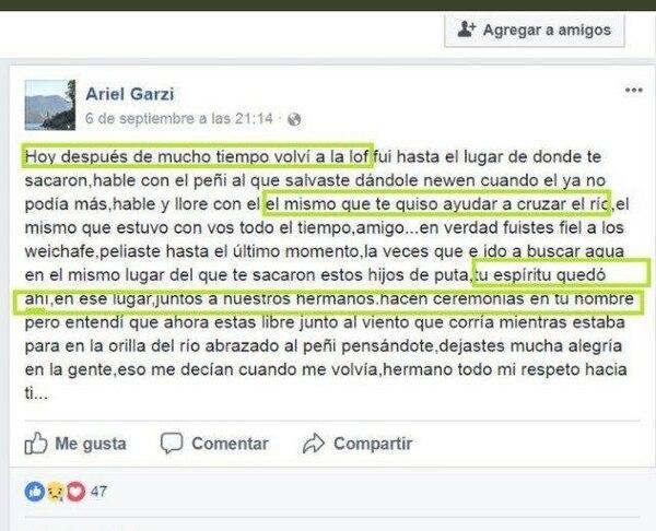Posteo de Ariel Garzi, amigo de Maldonado, en Facebook