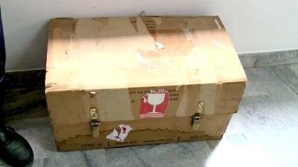 La caja en la que estaban los equipos de grabación del avión derribado (IRIB VIA WANA/Handout via REUTERS)