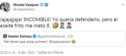 El divertido ida y vuelta de Nico Vázquez y Gastón Dalmau en Twitter