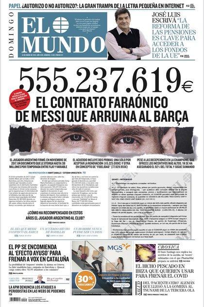La tapa del diario El Mundo con la publicación en cuestión