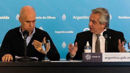 Alberto Fernández y Horacio Rodríguez Larreta durante un encuentro en la quinta de Olivos