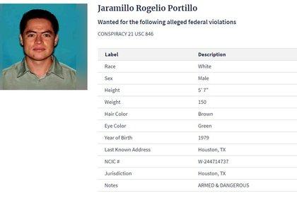 Rogelio Portillo Jaramillo es sobrino del alcalde guerrerense, también es buscado por la Agencia Antidrogas (Foto: DEA)