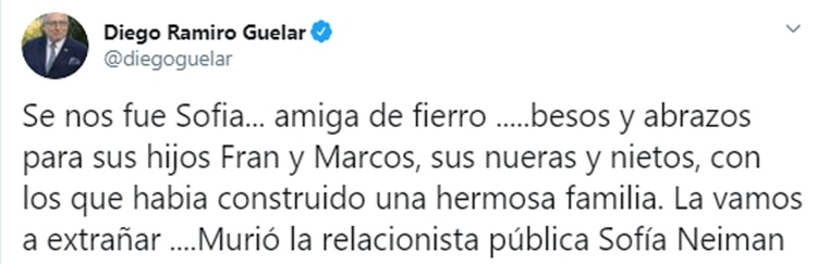 La publicación del diplomático Diego Guelar por la muerte de Sofía Neiman