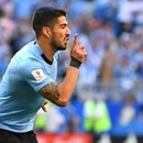Soccer Football - World Cup - Group A - Uruguay vs Russia - Samara Arena, Samara, Russia - June 25, 2018 Uruguay's Luis Suarez celebrates scoring their first goal REUTERS/Dylan Martinez