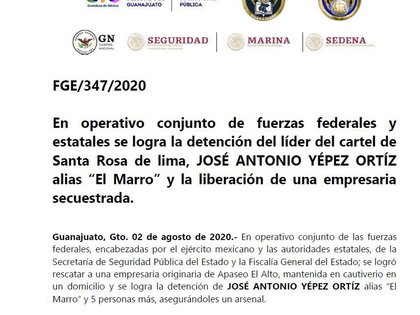 La Fiscalía General del Estado de Guanajuato informó el domingo 2 de agosto sobre la detención de José Antonio Yepez (Foto: Twitter Fiscalía General del Estado de Guanajuato)