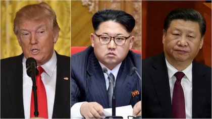 El presidente estadounidense Donald Trump, el dictador norcoreano Kim Jong-un y el presidente chino Xi Jinping