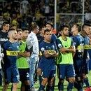 Télam 14/03/2018 Mendoza: Los jugadores de Boca Juniors no pueden ocultar su desazón tras la derrota ante River 0-2 y perder la Supercopa Argentina. Foto: Enviado Especial ale santa cruz/jr