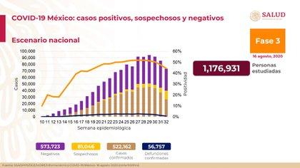 Gráfica de la actualización de los datos sobre la epidemia de COVID-19 en México (Foto: SSa)