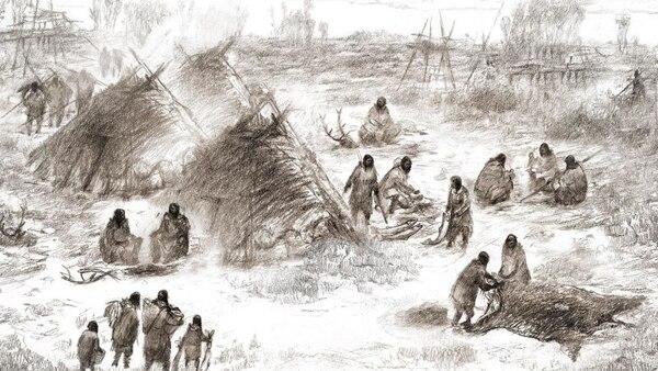 Representación del pueblo Upward Sun River (Eric S. Carlson, en colaboración con Ben Potter)