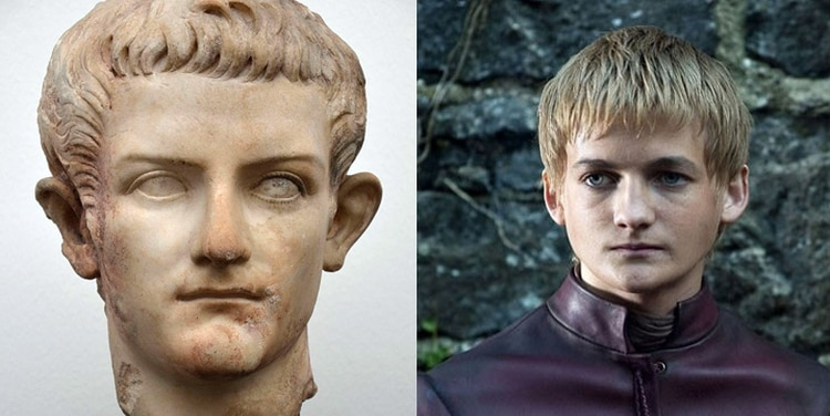 Caligula (en mármol, Ny Carlsberg Glyptotek, Copenhague) y Joffrey Baratheon interpretado por Jack Gleeson (Juego de Tronos, HBO). Author provided