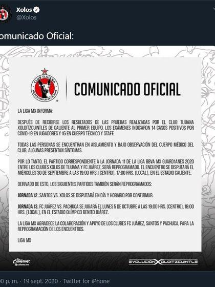 Los Xoloitzcuintles de Tijuana informaron que no podrán disputar sus próximos dos encuentros debido a la falta de jugadores y cuerpo técnico por el COVID-29 (Foto: Twitter/Xolos)