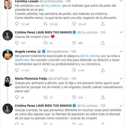 El intercambio en Twitter de Cristina Pérez con Carolina Losada, Ángela Lerena y María Florencia Freijo