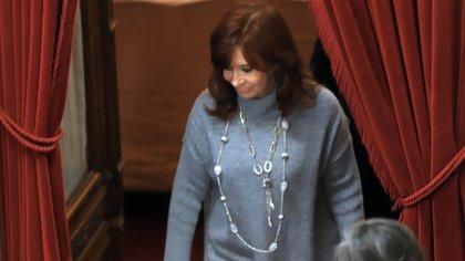 Cristina Kirchner, al frente del Senado. Es clave en la ofensiva por la expropiación de Vicentin.