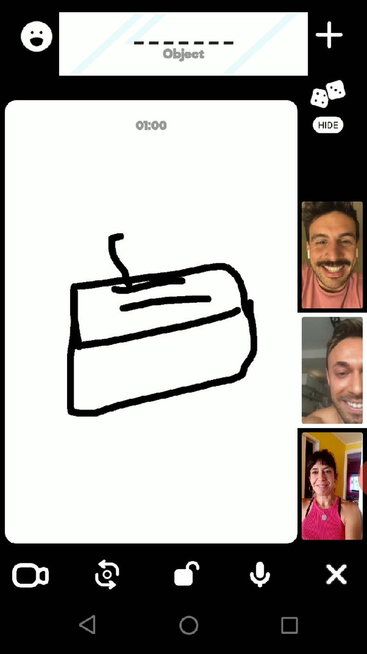 El juego Pictionary, en una videollamada de 3 integrantes de Houseparty