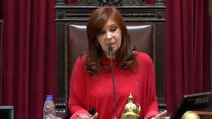 Cristina Kirchner, en la presidencia del Senado. Las sesiones presenciales por ahora sin chances.