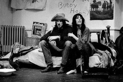"Sam Shepard y Patti Smith en la premiere de ""Cowboy Mouth"" (Gerard Malanga)"