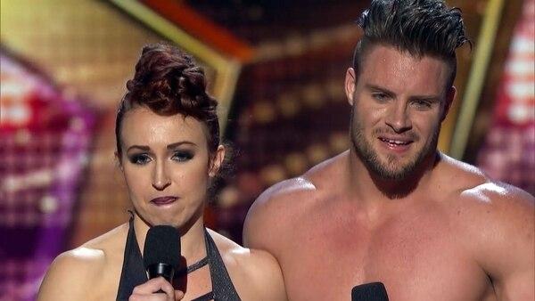"""Mary y Tyce en """"America's Got Talent"""". La mujer sufrió un accidente que pudo costarle muy caro"""