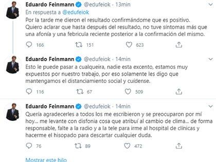 El anuncio en Twitter de Eduardo Feinmann sobre el positivo de coronavirus
