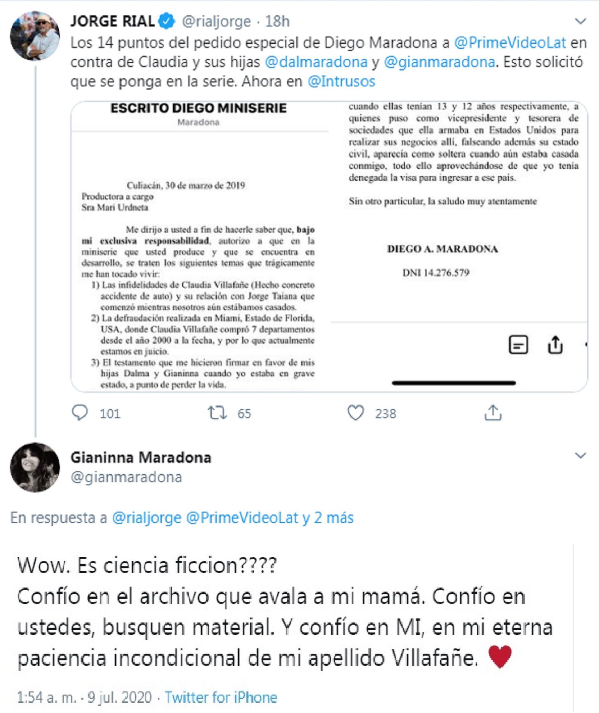 jorge rial gianinna maradona twitter
