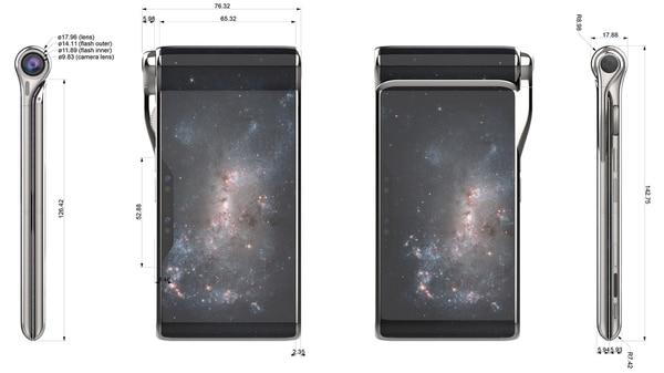 Según el diseño publicado, el Hubble Phonen será plegable y multiplantalla.
