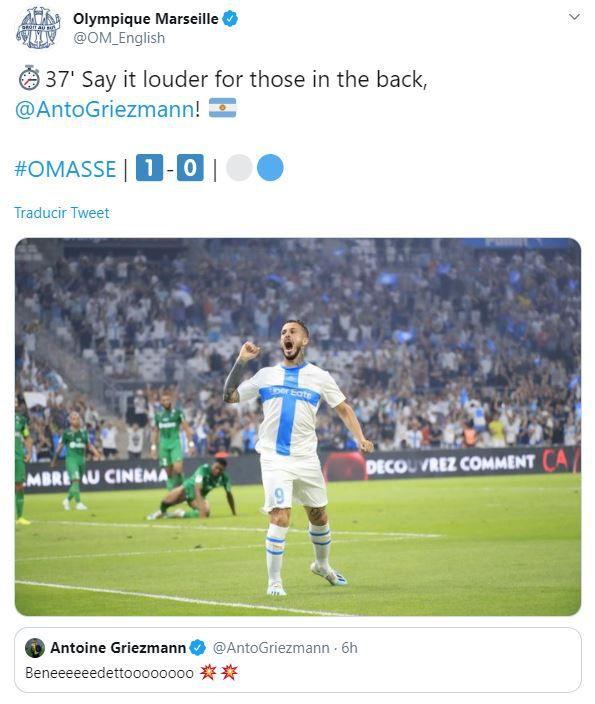 La reacción de Griezmann en Twitter por el golazo de Benedetto