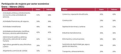 Participación de las mujeres por sectores económicos. Foto: Dane.