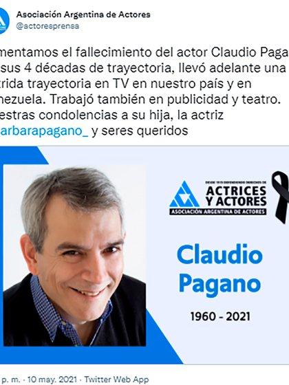 La Asociación Argentina de Actores confirmó la noticia de la partida de Claudio Pagano
