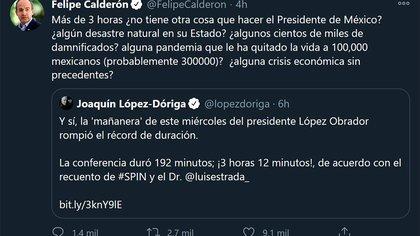 Felipe Calderón ha cuestionado las prioridades del presidente Andrés Manuel López Obrador (Foto: Twitter / @ FelipeCalderon)