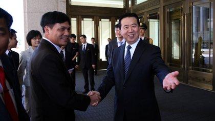 Meng Hongwei durante un acto oficial cuando era viceministro de Seguridad en China (Reuters)