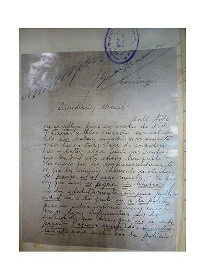 Carta de Abel Ayerza pidiendo que paguen el rescate por su vida