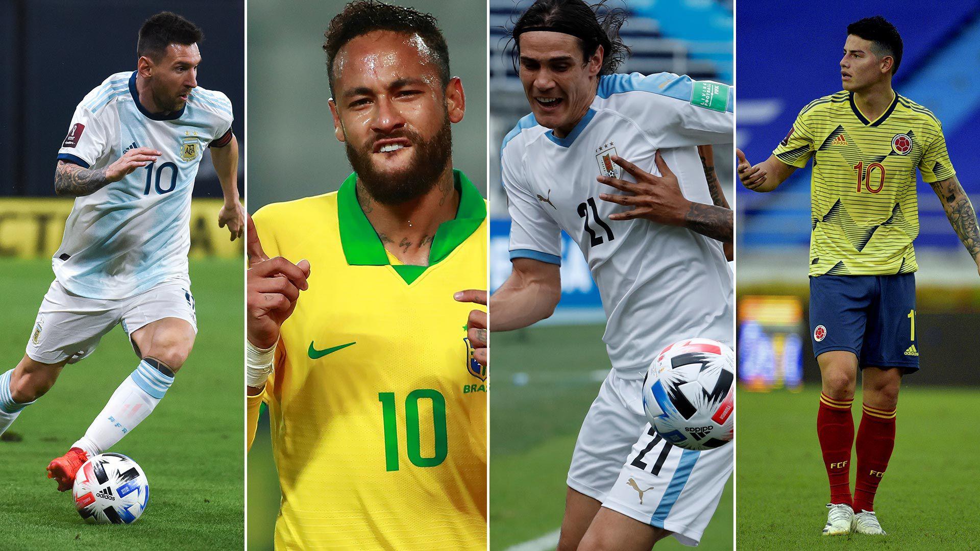 Messi argentina - Neymar Brasil - Cavani Uruguay - James Colombia 1920