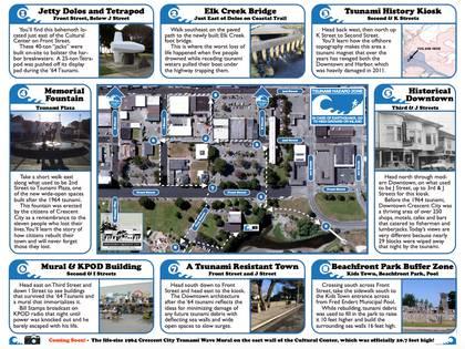 """El folleto para hacer el """"Tour a Pie del Tsunami"""" en Crescent City, California."""