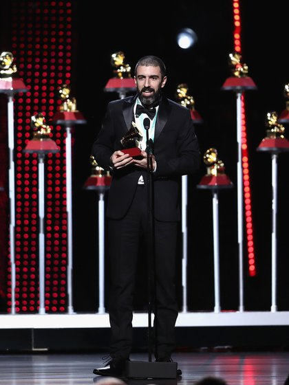 LAS VEGAS, NV – NOVEMBER 15: Pedro Giraudo accepts the award for Best Tango Album onstage at the Premiere Ceremony during the 19th Annual Latin GRAMMY Awards at MGM Grand Hotel & Casino on November 15, 2018 in Las Vegas, Nevada. Rich Polk/Getty Images for LARAS/AFP