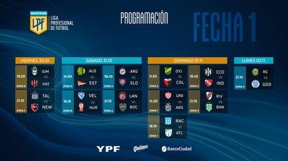 Fixture fecha 1 de la Copa de la Liga Profesional
