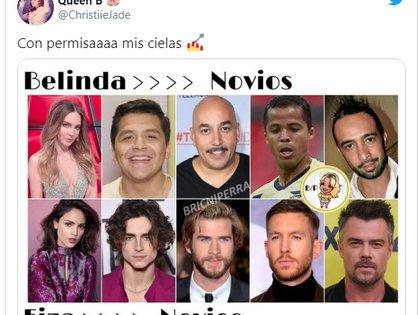 La relación también provocó en Twitter la comparación entre los novios de Belinda e Eiza González