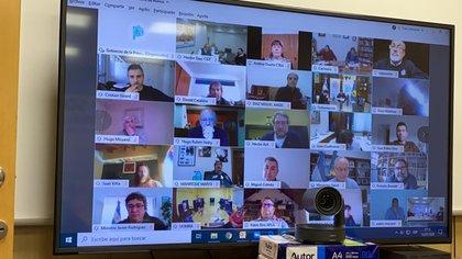 Axel Kicillof en la reunión de este martes por videoconferencia con intendentes del Gran Buenos Aires