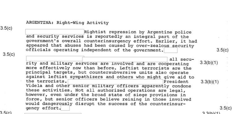 Los cablesde la CIA hablan de los excesos de la represión