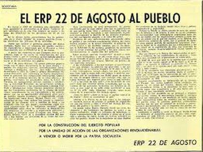 """La solicitada publicada en Crónica con la firma del Ejército Revolucionario del Pueblo, facción """"22 de agosto"""""""