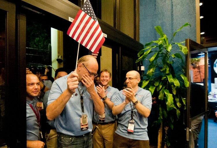 La celebración en la NASA durante el aterrizaje de Curiosity en Marte