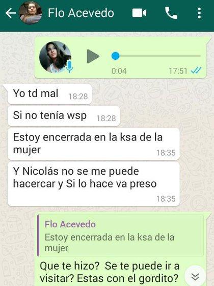 Los chats que Fátima Florencia Acevedo le mandaba a su amiga Florencia López (Foto / Captura Pantalla).