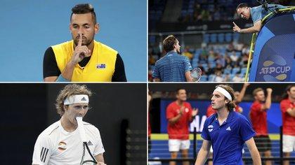 Nick Kyrgios, Daniil Medvedev, Alexander Zverev y Stéfanos Tsitsipás han protagonizados diferentes escándalos en la ATP Cup.