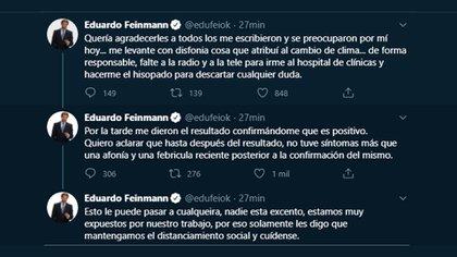 El 19 de agosto, Feinmann contó en redes sociales que se había contagiado de coronavirus (Twitter: @edufeiok)
