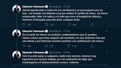 Eduardo Feinmann anunciando Covid positivo (Twitter: @edufeiok)