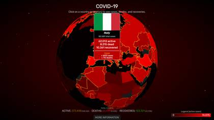 Mapa interactivo Italia (covidvisualizer)